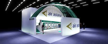 Stand de Air Astana pabello Corporativo - EXPO 2017